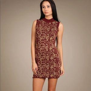 New M. Rena deep red jacquard sleeveless dress